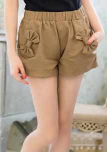 活潑蝴蝶結口袋卡其短褲